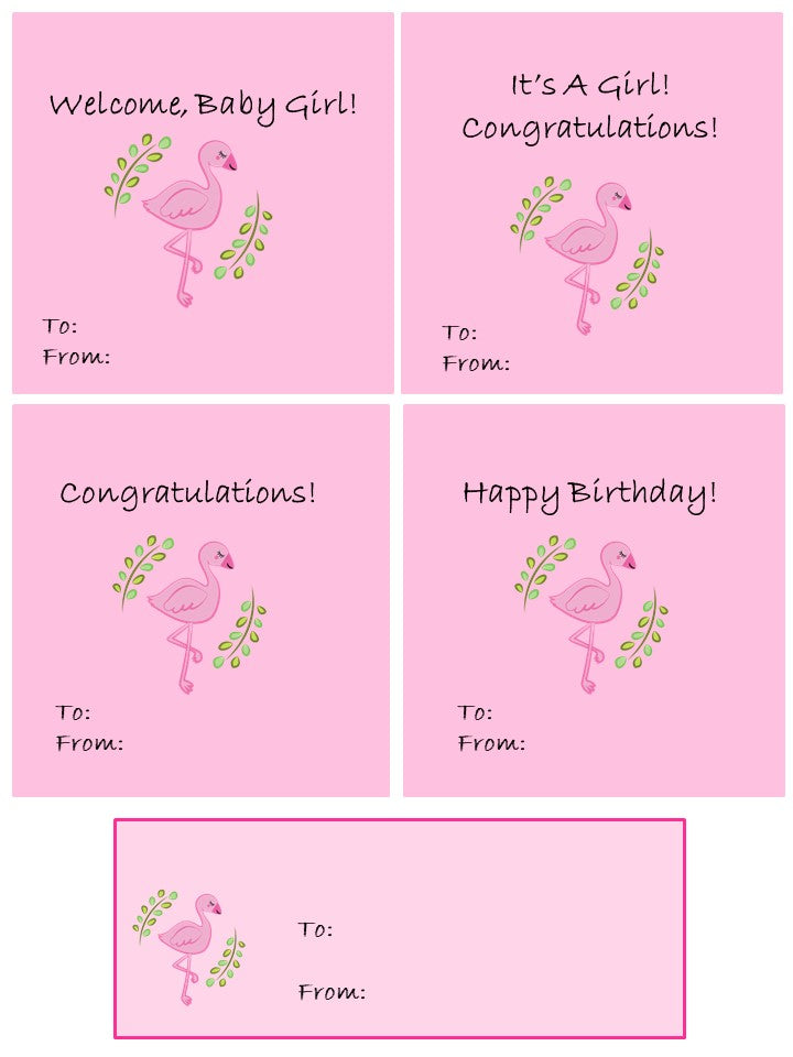 Printable Gift Tags and Cards -- Pink Flamingo