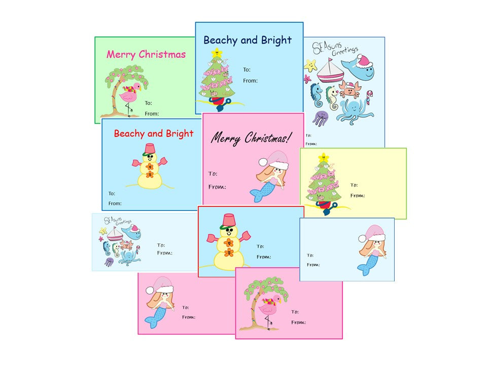 FREE ! Beachy Christmas Gift Tags Digital Download Printables FREE!