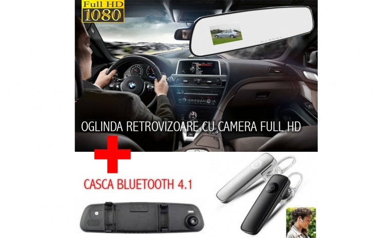 Oglinda auto cu camera de filmat FULL HD + Casca audio cu bluetooth