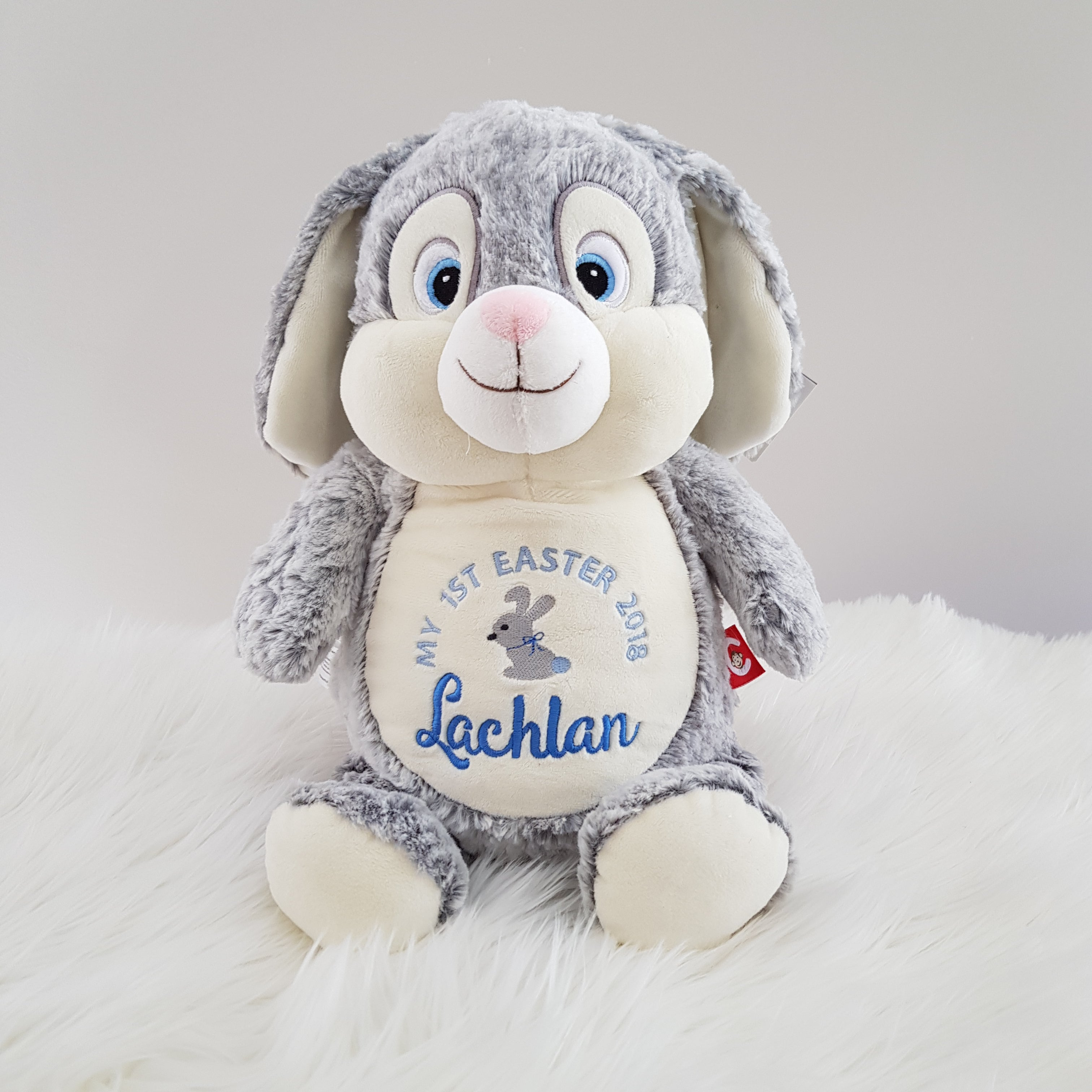 Personalised  Teddy - Bunny Grey - D'lighted