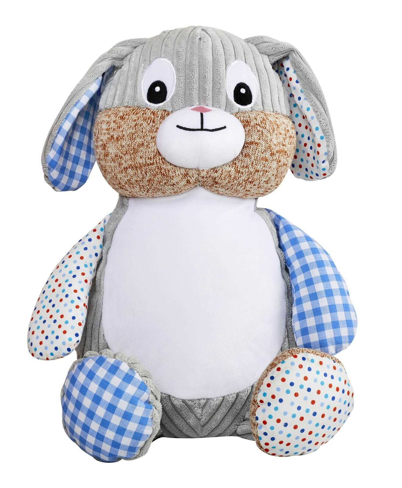 Personalised Teddy - Harlequin Blue Bunny - D'lighted