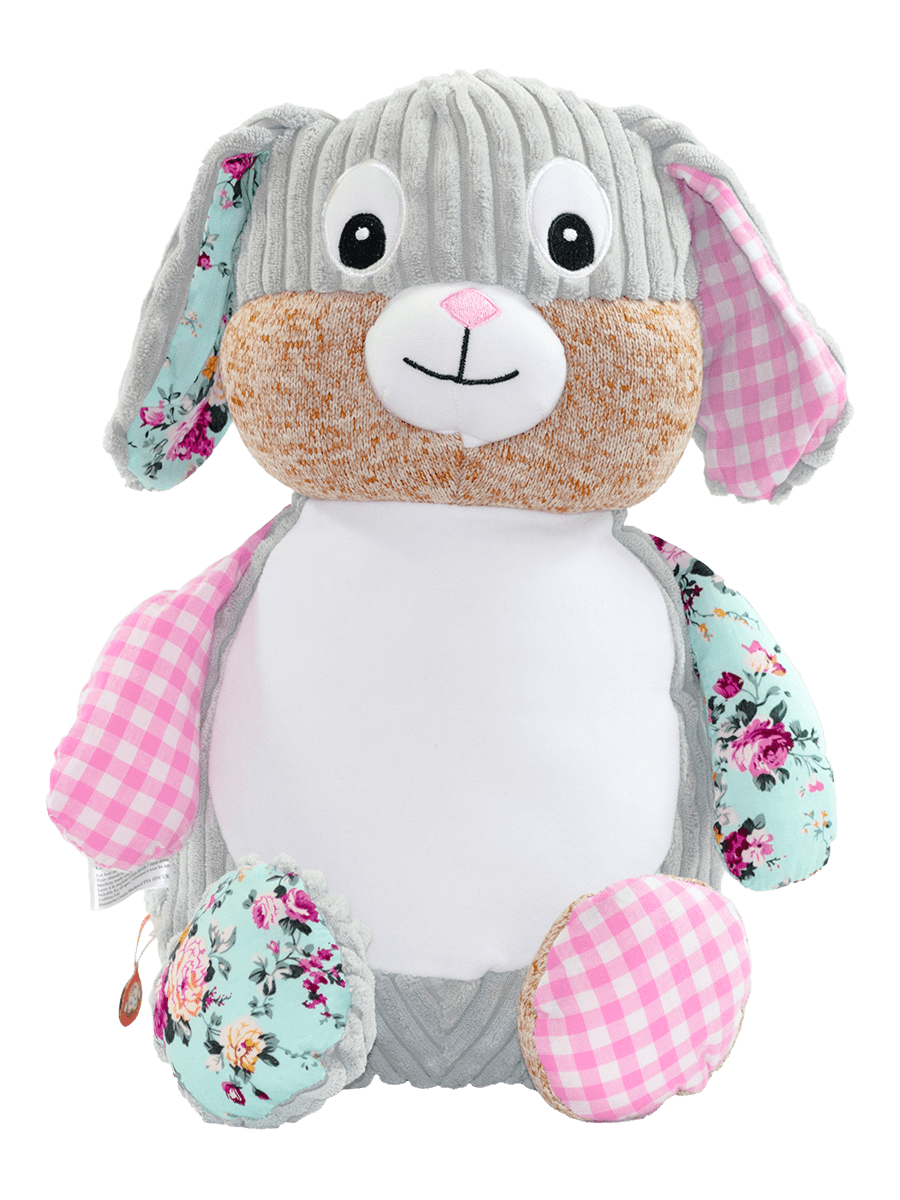 Personalised Teddy - Harlequin Pink Bunny - D'lighted
