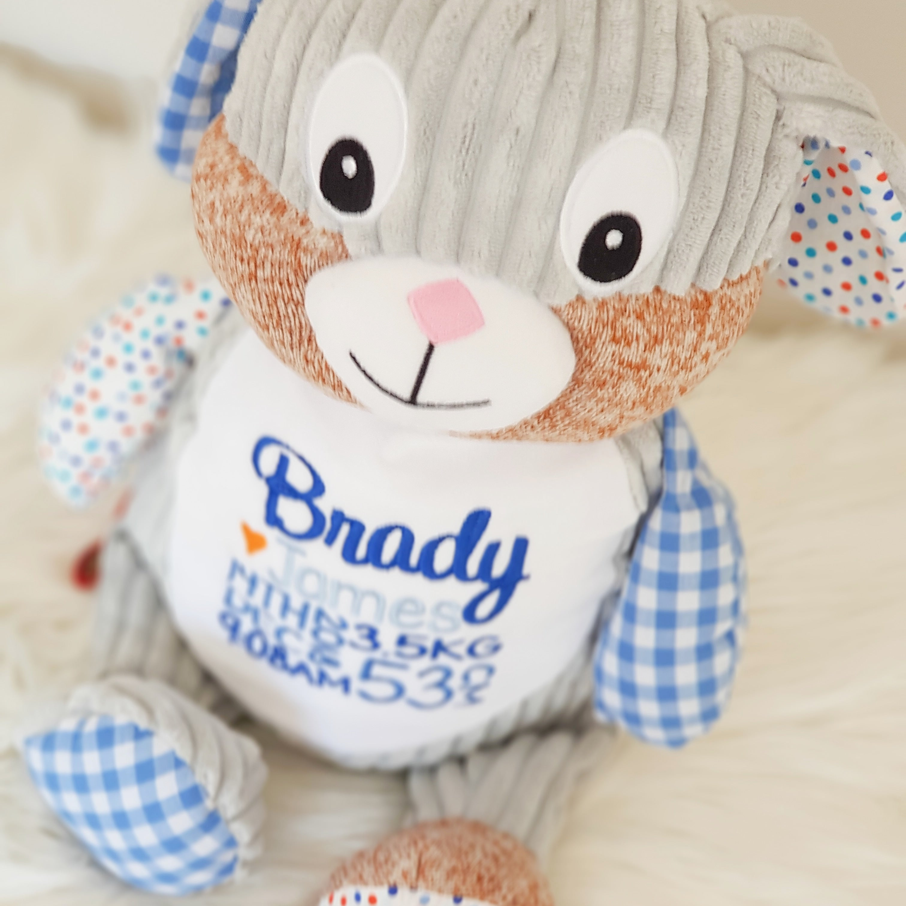 Personalised Teddy - Harlequin Blue Bunny