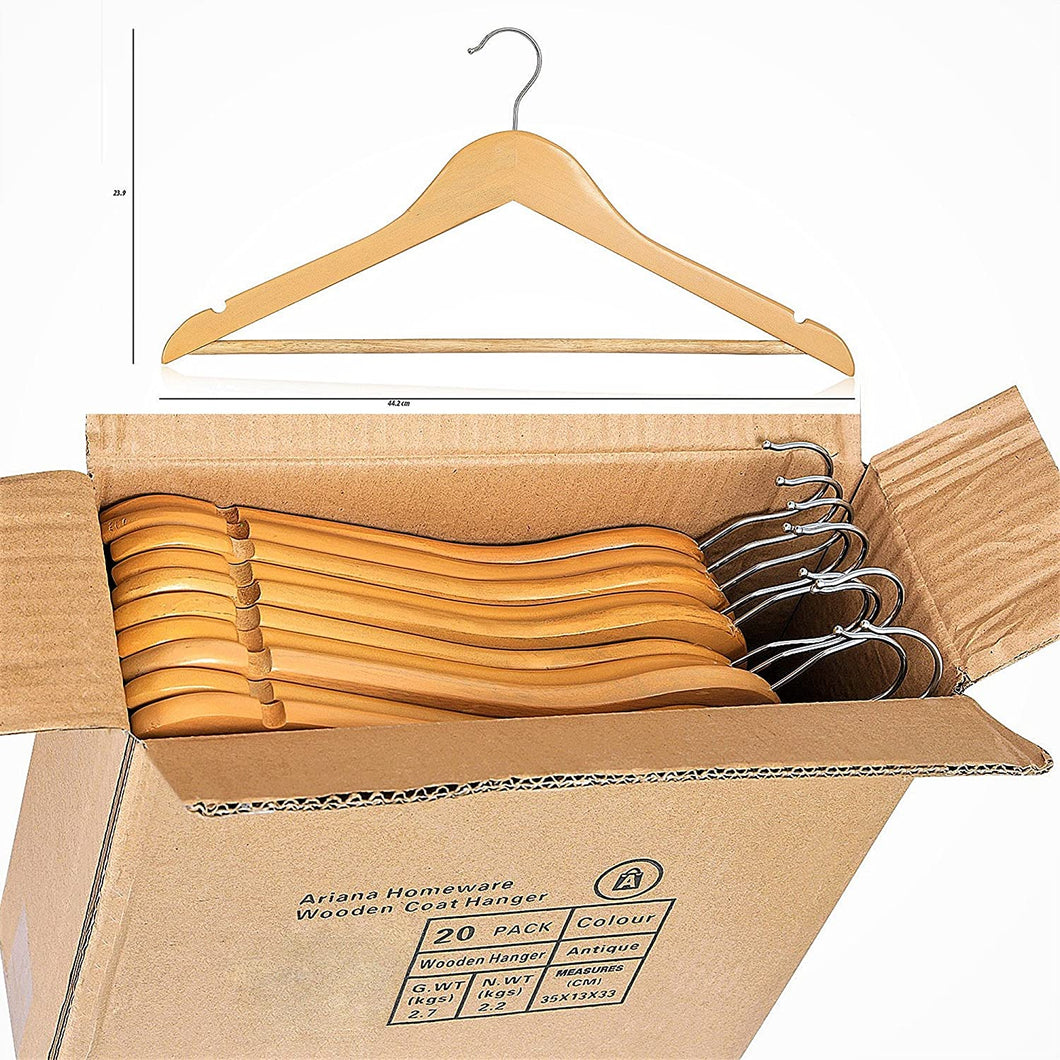 ARIANA HOMEWARE Pack of 60 Wooden Coat Hangers High Grade Natural Oak Suit Trouser Garments Clothes Hanger Bar NEW