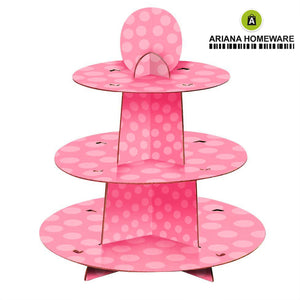 Pink Polka Cupcake Stand 3-Tier