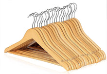 Load image into Gallery viewer, ARIANA HOMEWARE Pack of 60 Wooden Coat Hangers High Grade Natural Oak Suit Trouser Garments Clothes Hanger Bar NEW