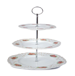 A-11 White Floral Cake Stand