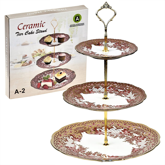 A-2 Golden Peach Floral Cake Stand