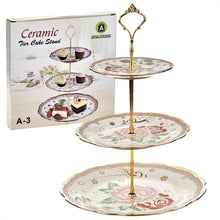 Load image into Gallery viewer, A-3 Golden Rose Green Leafs Cake Stand