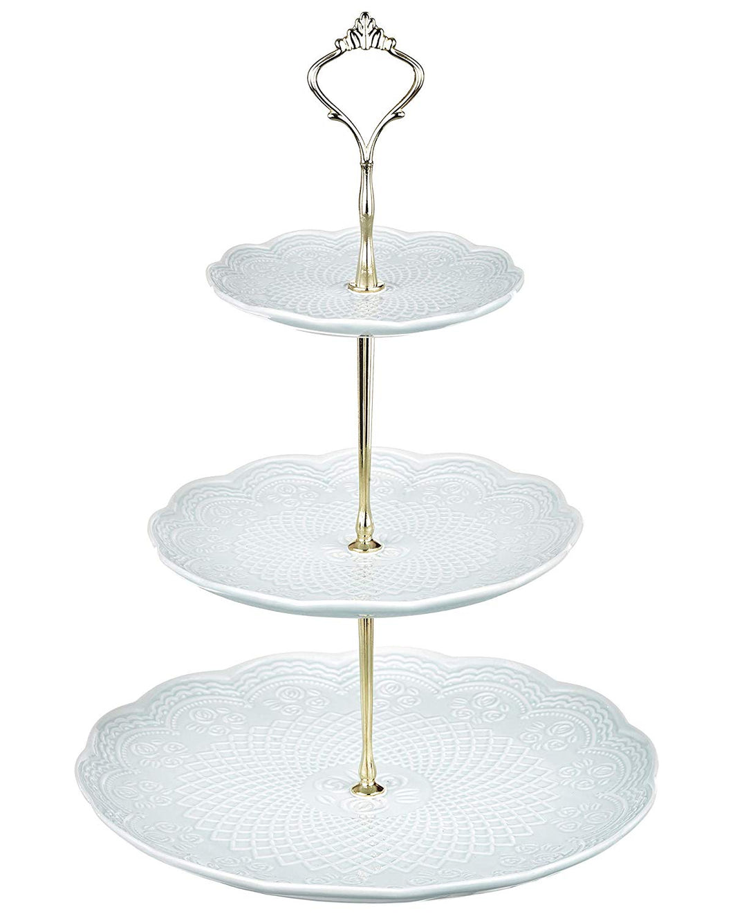 A-5 Light Blue Embossed Floral Cake Stand