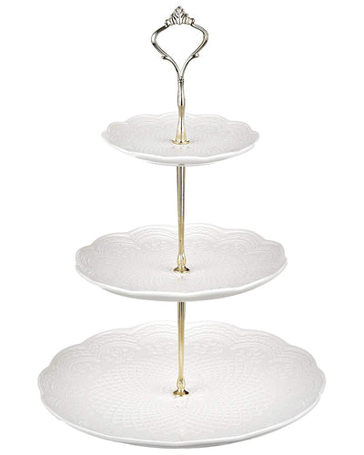 A-6 White Embossed Floral Floral Cake Stand
