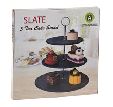 Load image into Gallery viewer, 3-Tier Natural Slate Cake Stand