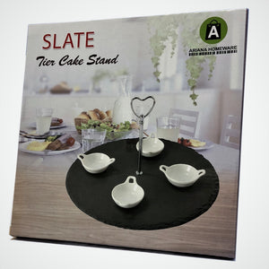 1-Tier Natural Slate Cake Stand