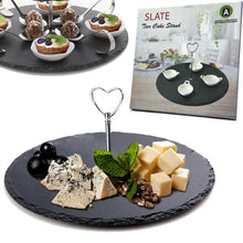 Load image into Gallery viewer, 1-Tier Natural Slate Cake Stand