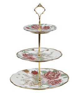 A-1 Golden Rose Floral Cake Stand