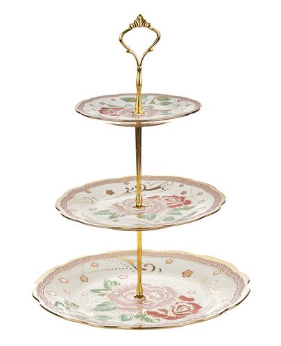 A-3 Golden Rose Green Leafs Cake Stand
