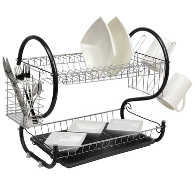 Black 2-Tier Dish Drainer Holder