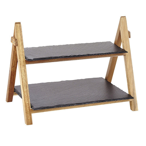 2-Tier Slate Board with Bamboo Holdings