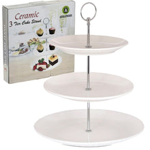 Load image into Gallery viewer, 3-Tier White Ceramic Cake Stand