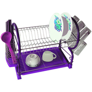 Purple 2-Tier Dish Drainer Holder