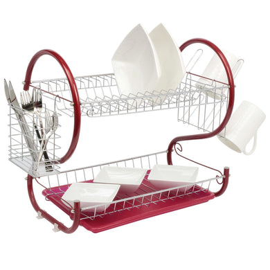 Red 2-Tier Dish Drainer Holder