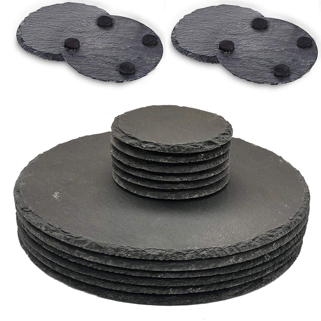 Set of 8 Slate Round Placemats & Coasters