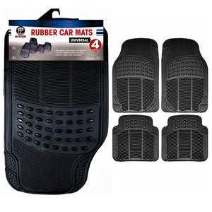 Heavy Duty Universal Rubber Car Mat Set, 4 Pieces, Black
