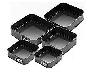 Set of 5 Square Non-Stick Cake Tins
