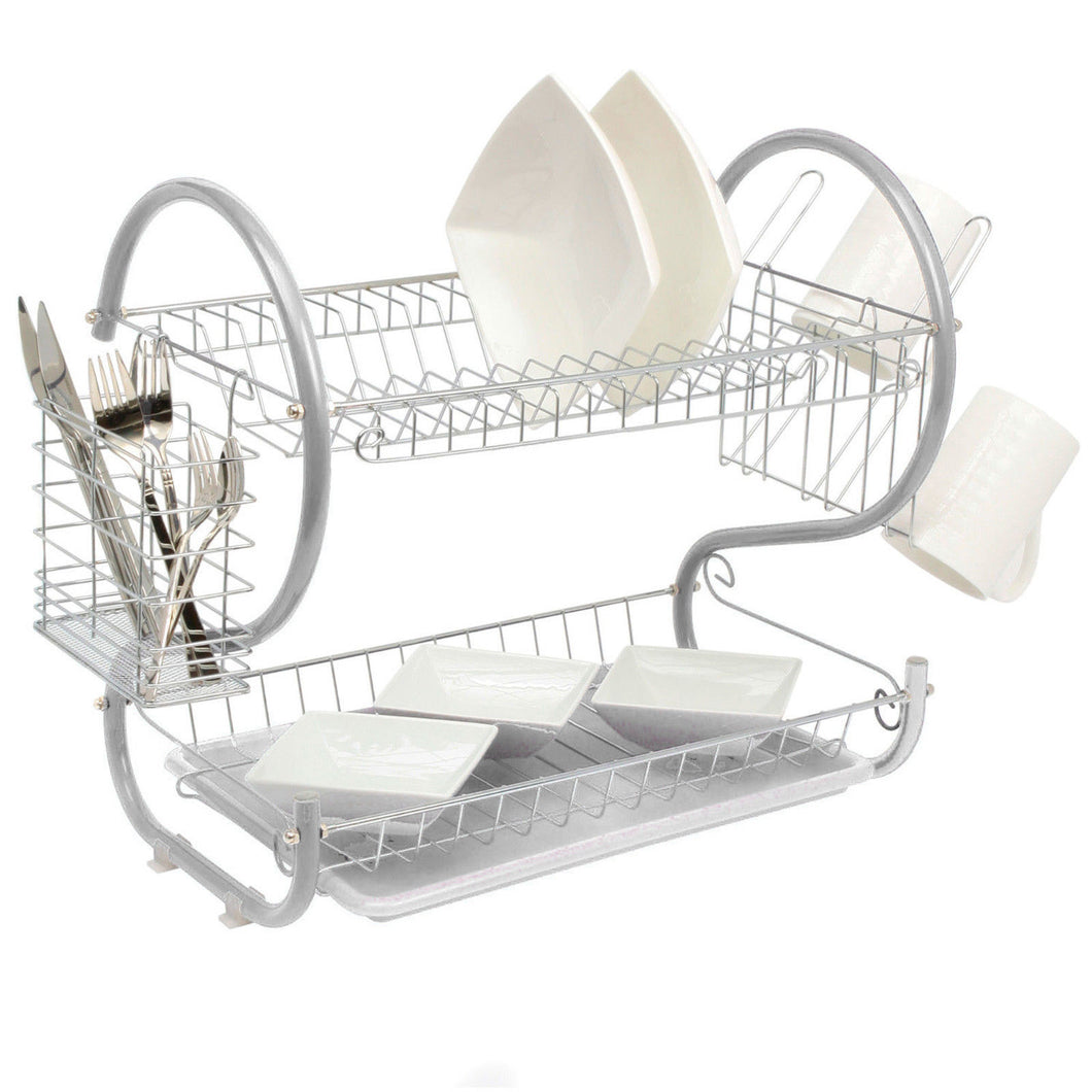 White 2-Tier Dish Drainer Holder