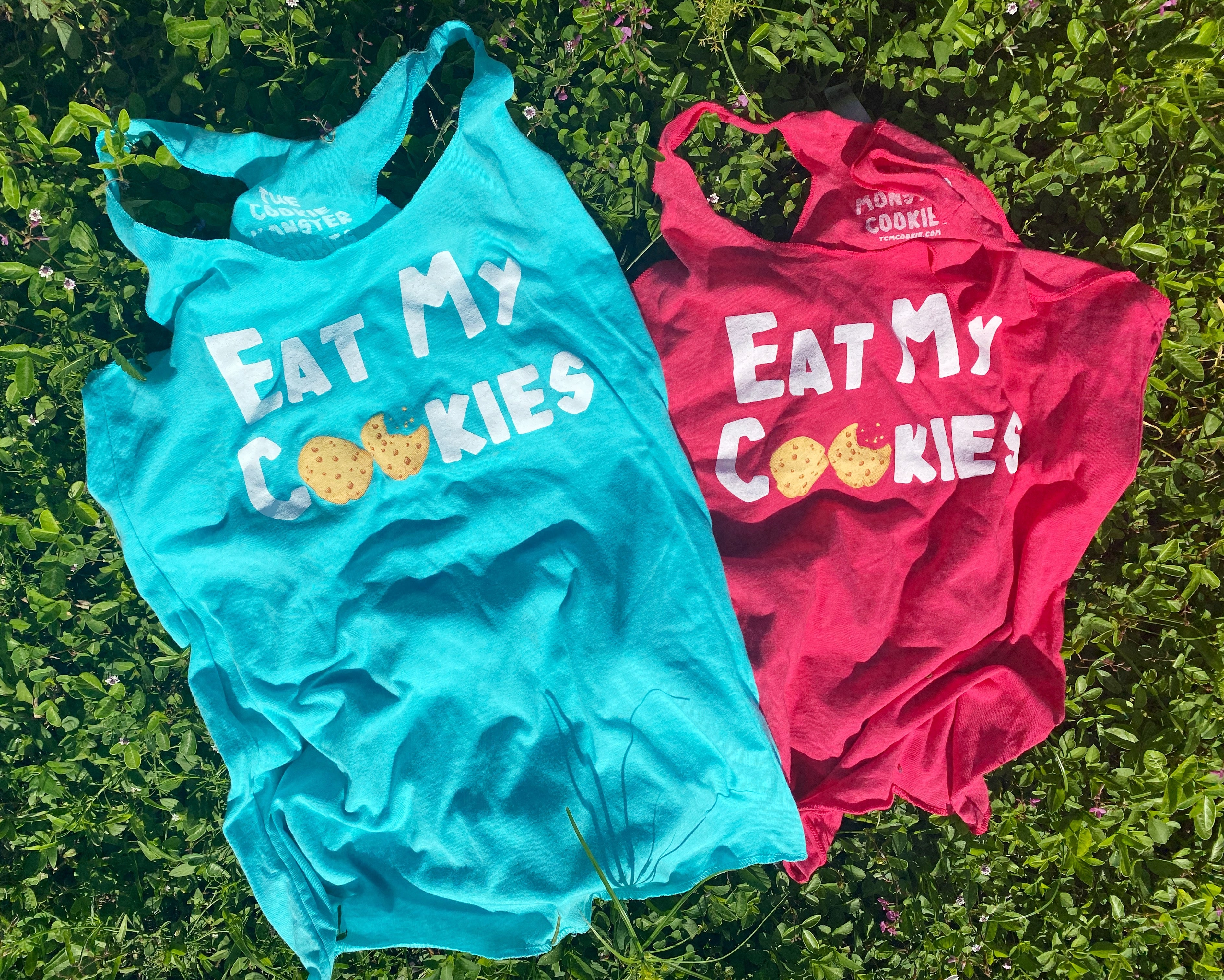 pink and green eat my cookies tanks
