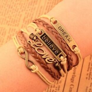 Dream Faith Love Leather Bracelet