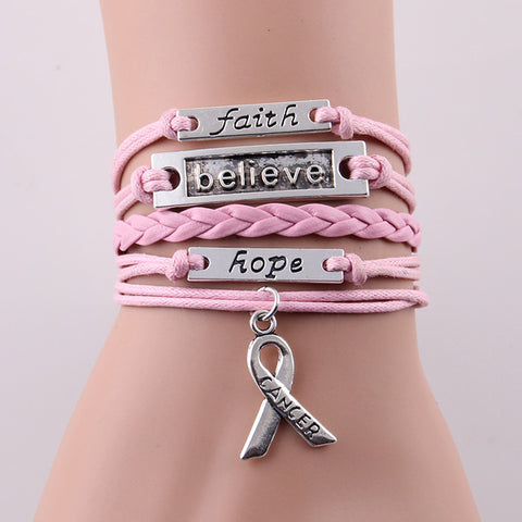 Image of Faith Believe Hope Charm Breast Cancer Awareness Bracelet