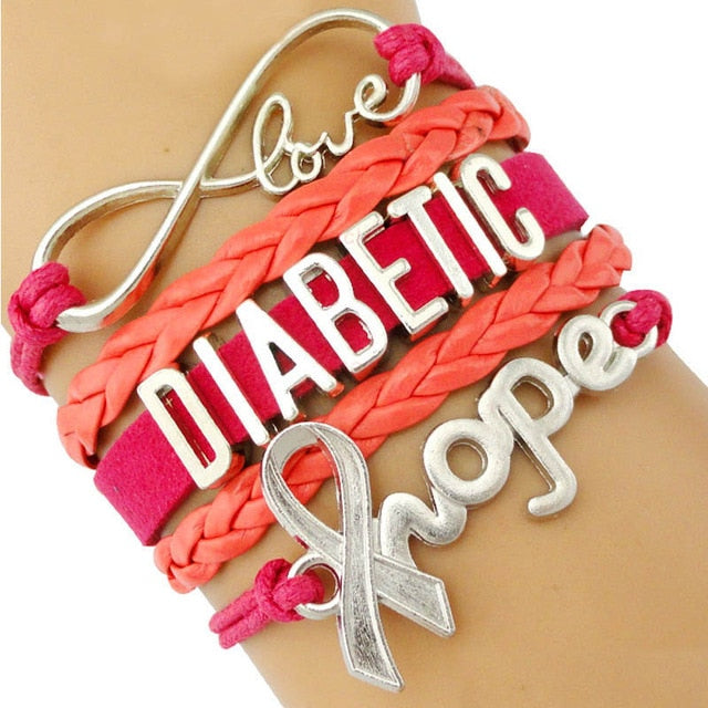 Love Home Diabetic Medical Awareness Ribbon Bracelet