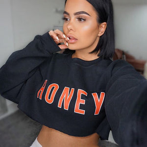 HONEY Crop Top Pullover Sweatshirt