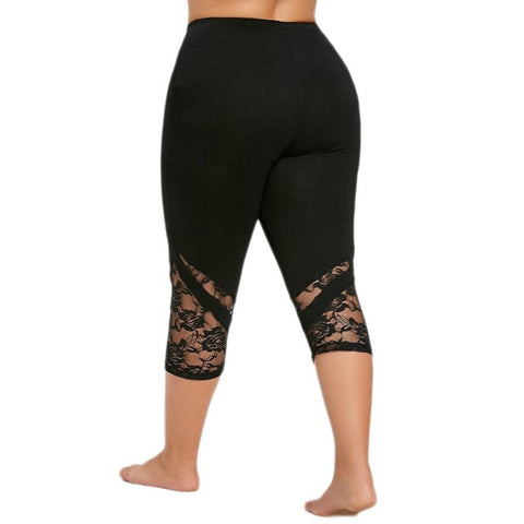 Image of Floral Lace Plus High Waist Leggings