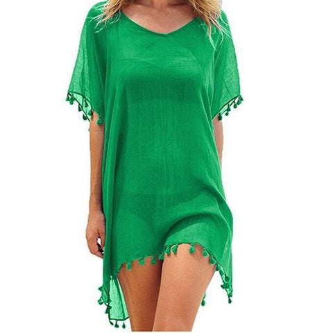 Image of Summer Beach Cover Up Tassel Dress