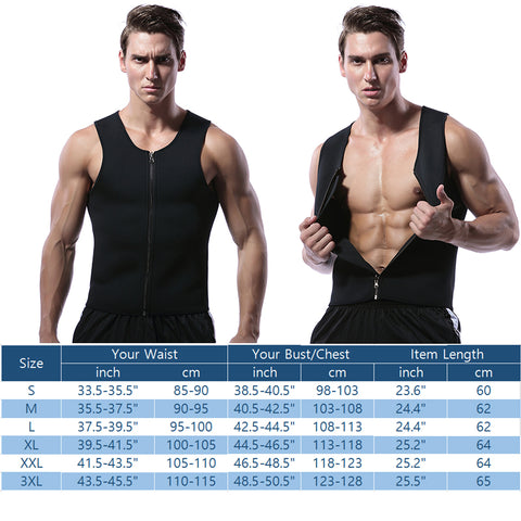 Men's Neoprene Thermal Hot Body Slimming Sauna Shapers with Zipper