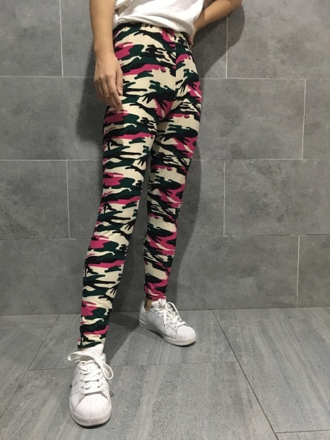 Camo Print Stretched Camouflage Leggings