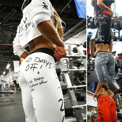 Image of No Days Off White Printed Leggings
