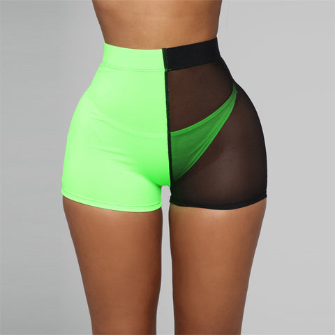 Image of 2 Tone See-Through Mesh Elastic Shorts