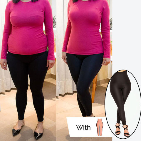 Image of Ultra High Waist Shaping Tummy Control Black Leggings for Women