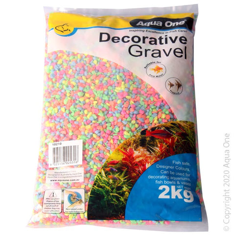 AQUA ONE DECORATIVE GRAVEL 2KG NEON 4 TO 6MM NO.2