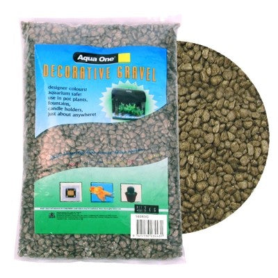 AQUA ONE DECORATIVE GRAVEL 2KG MOSS GREEN 7MM