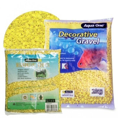 AQUA ONE DECORATIVE GRAVEL 2KG FLURO YELLOW