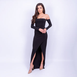 black bardot long sleeve outline maxi dress with front slit made from a double weight jersey material available to rent at LENDLAB