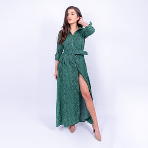 Dancing Leopard all over green leopard print floaty maxi dress with belted waist and three quarter tie sleeves available to rent from LENDLAB