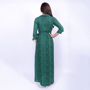 back view of Dancing Leopard all over green leopard print floaty maxi dress with belted waist and three quarter tie sleeves available to rent from LENDLAB