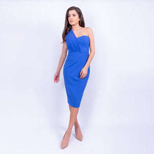 Karen Millen strapless pencil dress with chiffon one shoulder stap detail with stretch fabric, available to rent at LENDLAB