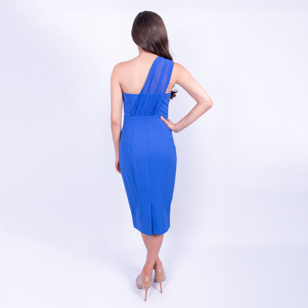 back view of the Karen Millen strapless pencil dress with chiffon one shoulder stap detail with stretch fabric, available to rent at LENDLAB