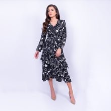 Load image into Gallery viewer, BIBA constellation print midi dress with skirt ruffles and long sleeves made in a floaty fabric, available to rent from LENDLAB